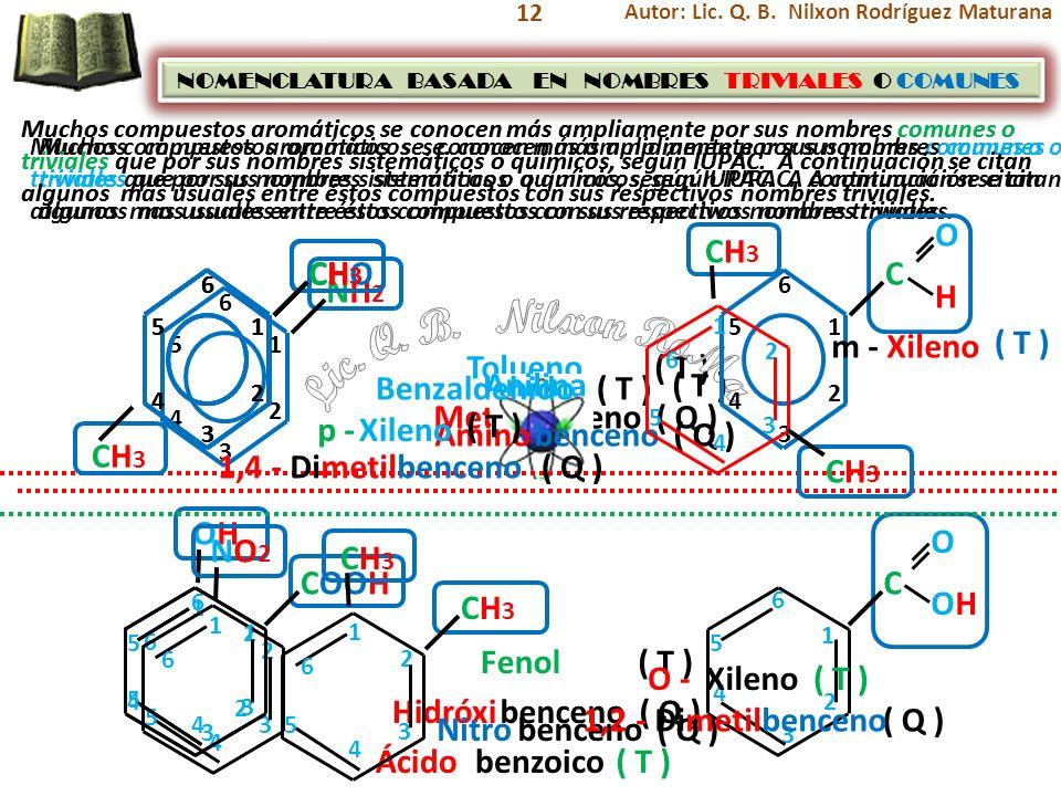 12 Muchos compuestos aromáticos se conocen más ampliamente por sus nombres comunes o triviales que por sus nombres sistemáticos o químicos, según IUPA