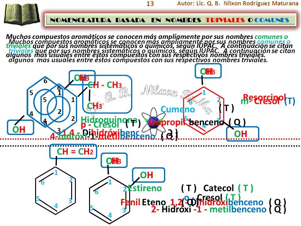 13 Muchos compuestos aromáticos se conocen más ampliamente por sus nombres comunes o triviales que por sus nombres sistemáticos o químicos, según IUPA