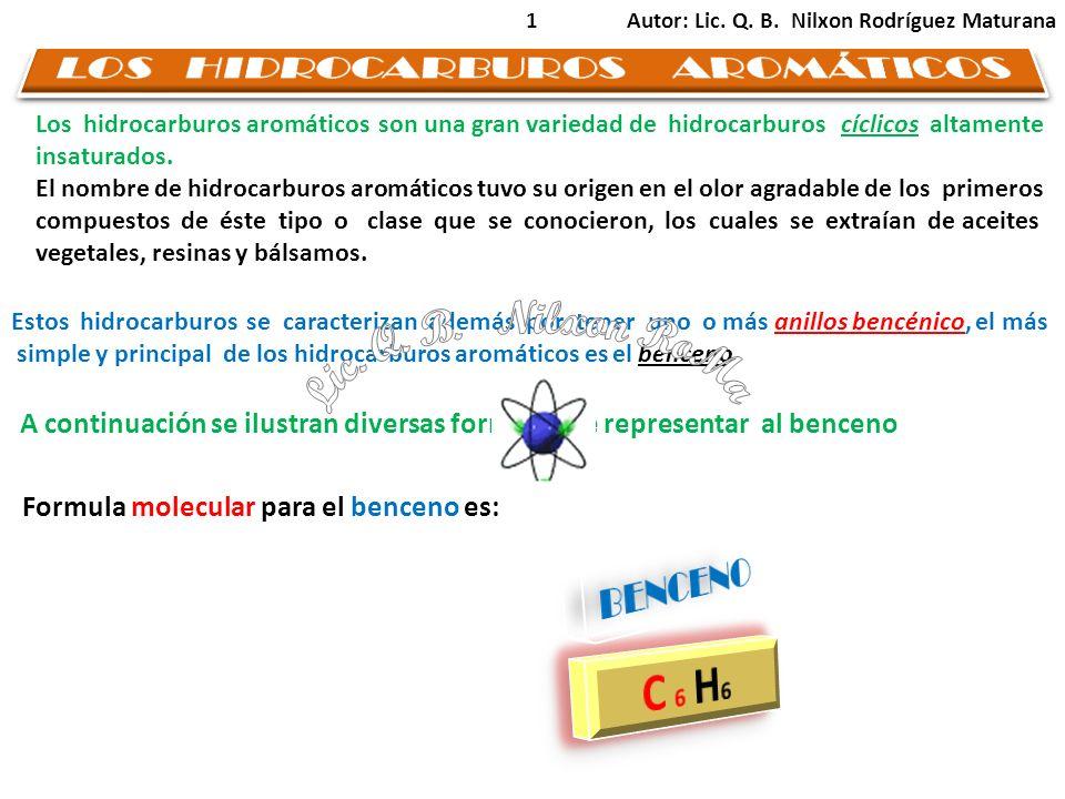 2 C C C C C C H H H H H H C H 66 Fórmula molecular Fórmula estructural BENCENO Fórmula abreviada BENCENOS Autor: Lic.