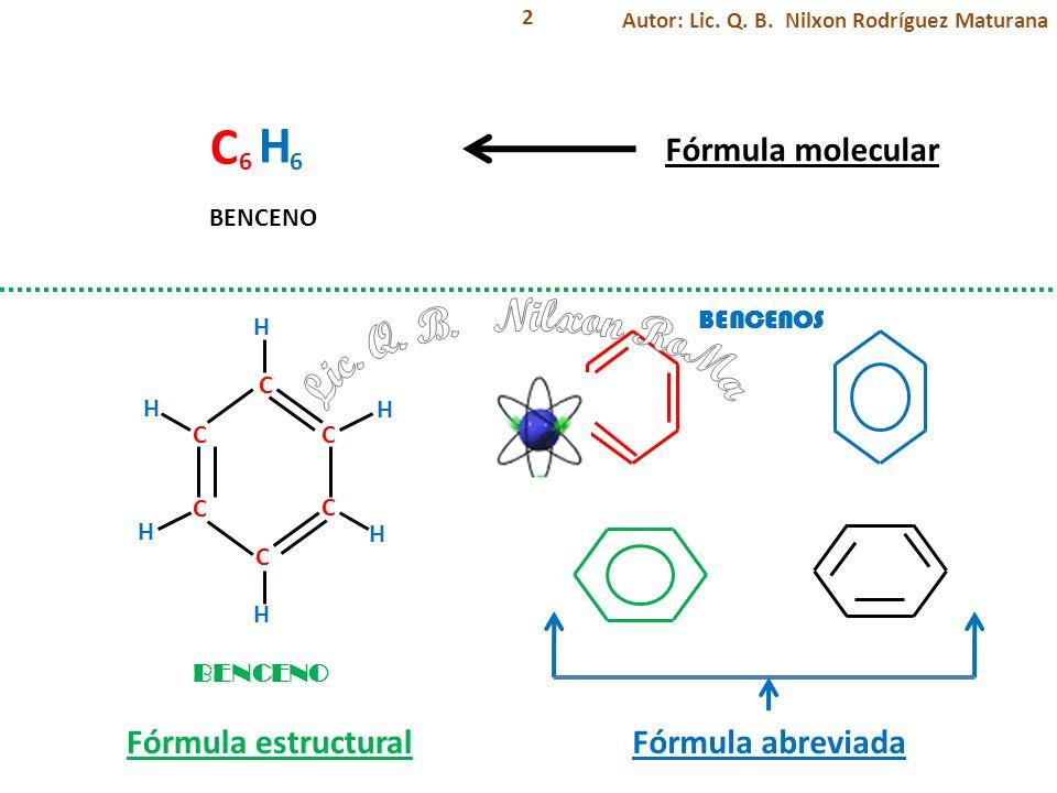 2 C C C C C C H H H H H H C H 66 Fórmula molecular Fórmula estructural BENCENO Fórmula abreviada BENCENOS Autor: Lic. Q. B. Nilxon Rodríguez Maturana