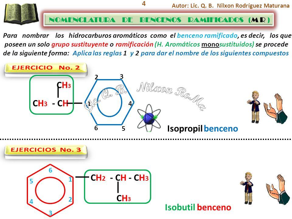 4 Para nombrar los hidrocarburos aromáticos como el benceno ramificado, es decir, los que poseen un solo grupo sustituyente o ramificación (H. Aromáti