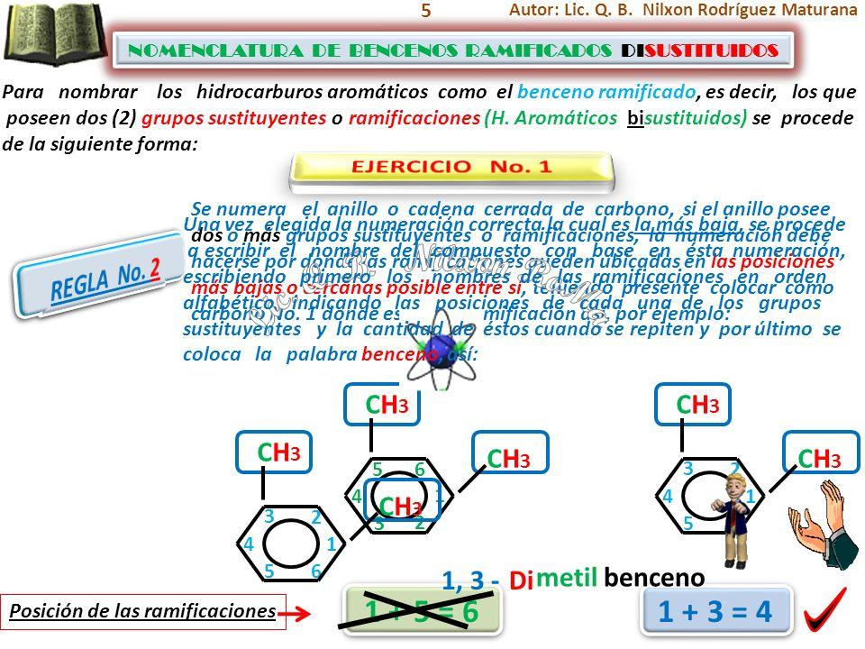 5 NOMENCLATURA DE BENCENOS RAMIFICADOS DISUSTITUIDOS NOMENCLATURA DE BENCENOS RAMIFICADOS DISUSTITUIDOS CH3 CH3 1 3 2 1 4 2 Posición de las ramificaci