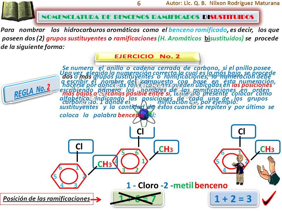 7 NOMENCLATURA DE BENCENOS RAMIFICADOS DISUSTITUIDOS NOMENCLATURA DE BENCENOS RAMIFICADOS DISUSTITUIDOS CH3 CH3 1 32 1 4 2 Posición de las ramificaciones 1 + 4 = 5 3 4 Para nombrar los hidrocarburos aromáticos como el benceno ramificado, es decir, los que poseen dos (2) grupos sustituyentes o ramificaciones (H.