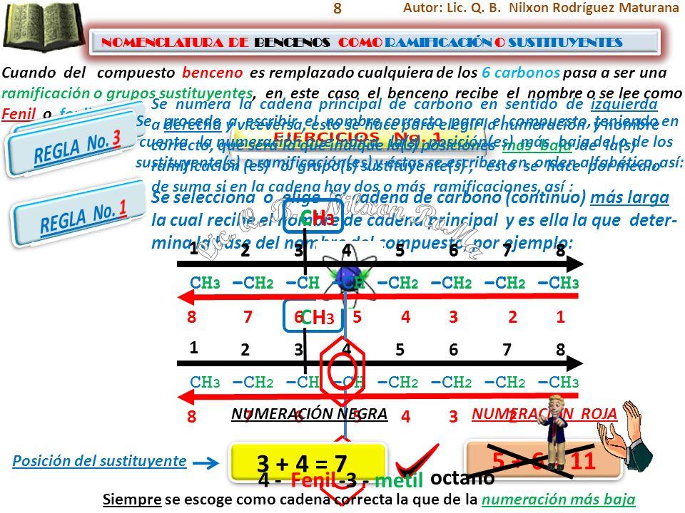 8 NOMENCLATURA DE BENCENOS COMO RAMIFICACIÓN O SUSTITUYENTES NOMENCLATURA DE BENCENOS COMO RAMIFICACIÓN O SUSTITUYENTES Cuando del compuesto benceno e