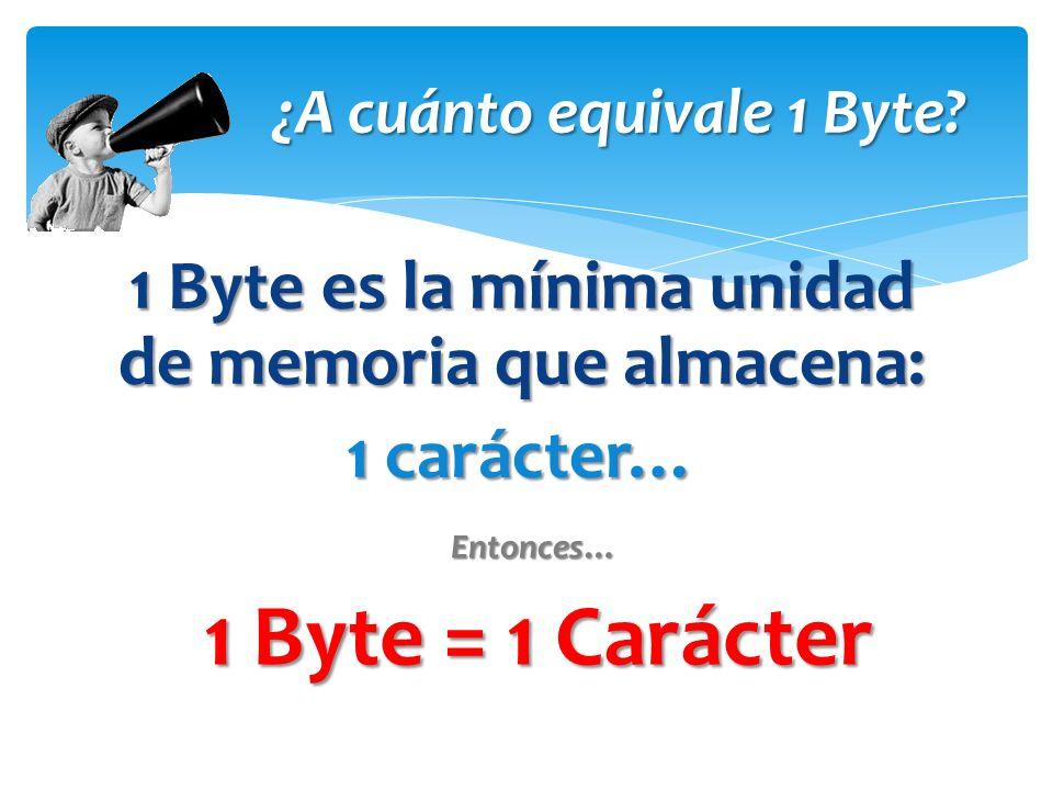 1 Byte es la mínima unidad de memoria que almacena: 1 carácter… ¿A cuánto equivale 1 Byte.