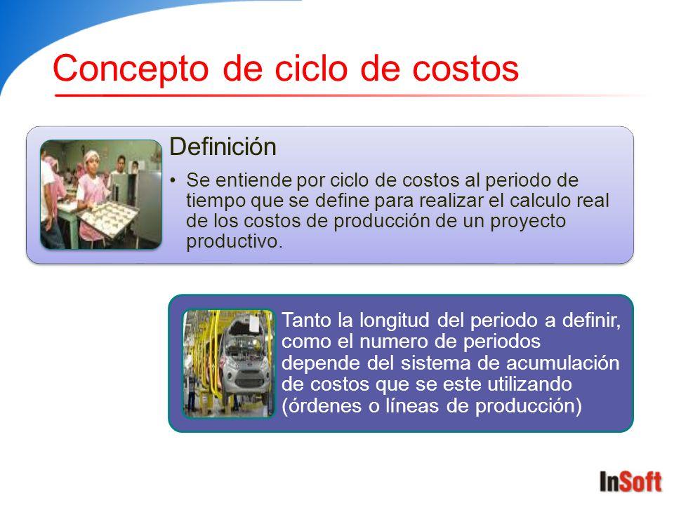Concepto de ciclo de costos Definición Se entiende por ciclo de costos al periodo de tiempo que se define para realizar el calculo real de los costos