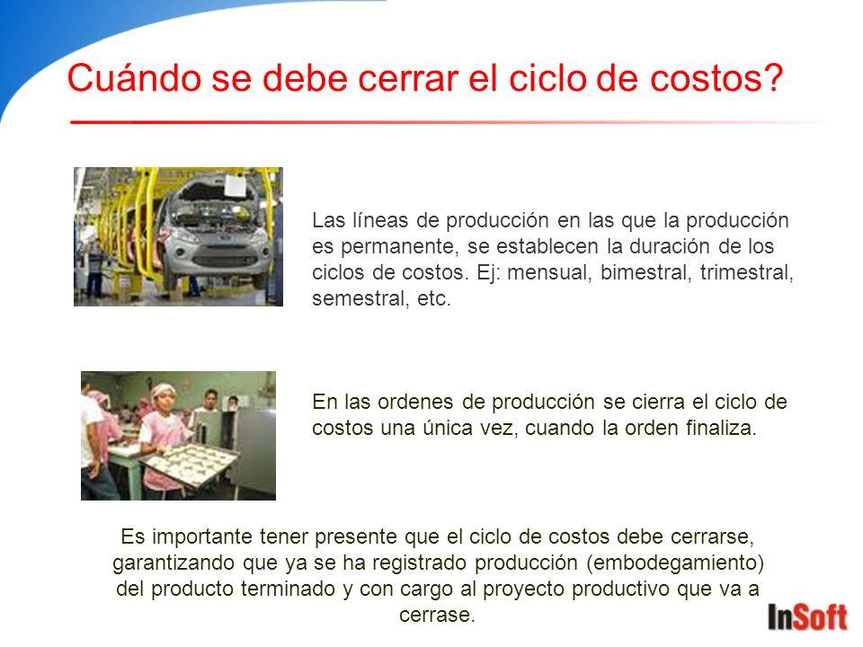 Cuándo se debe cerrar el ciclo de costos? Las líneas de producción en las que la producción es permanente, se establecen la duración de los ciclos de