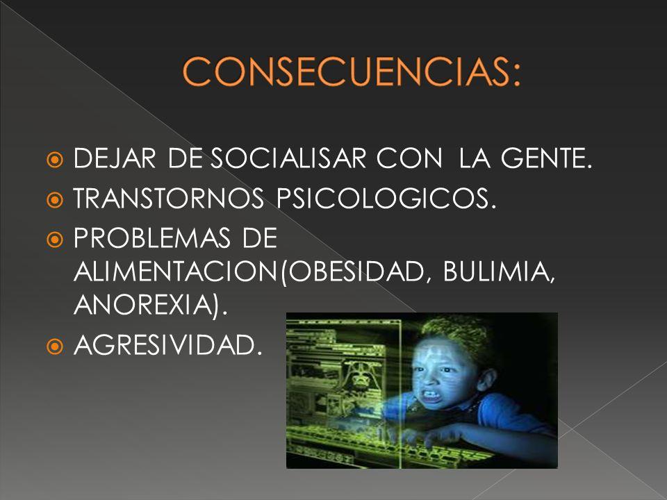 DEJAR DE SOCIALISAR CON LA GENTE. TRANSTORNOS PSICOLOGICOS. PROBLEMAS DE ALIMENTACION(OBESIDAD, BULIMIA, ANOREXIA). AGRESIVIDAD.