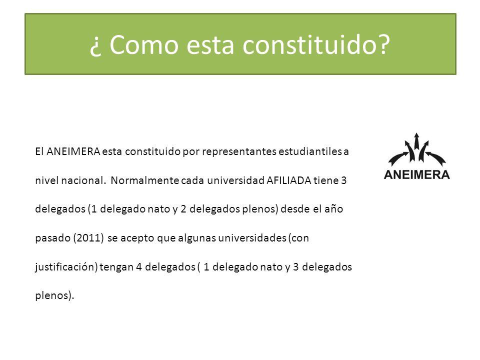 El ANEIMERA esta constituido por representantes estudiantiles a nivel nacional. Normalmente cada universidad AFILIADA tiene 3 delegados (1 delegado na