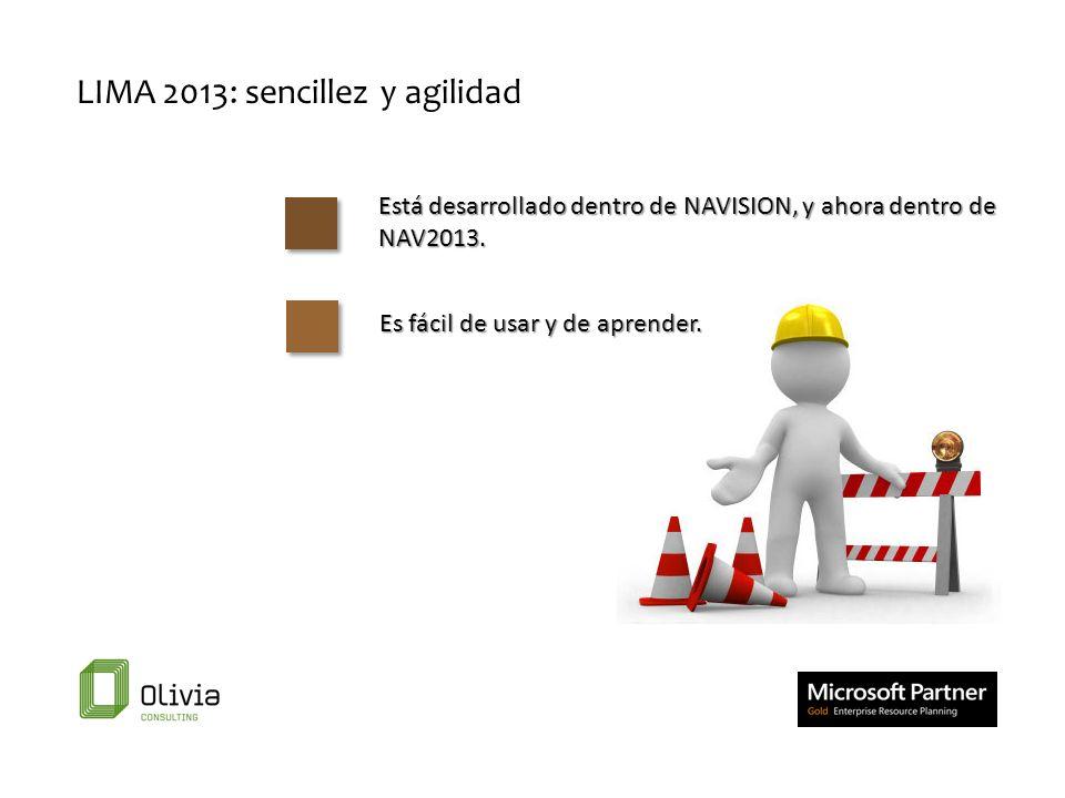 Está desarrollado dentro de NAVISION, y ahora dentro de NAV2013. LIMA 2013: sencillez y agilidad Es fácil de usar y de aprender.