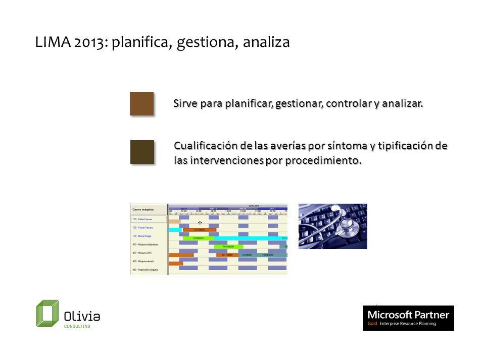 LIMA 2013: planifica, gestiona, analiza Sirve para planificar, gestionar, controlar y analizar. Cualificación de las averías por síntoma y tipificació