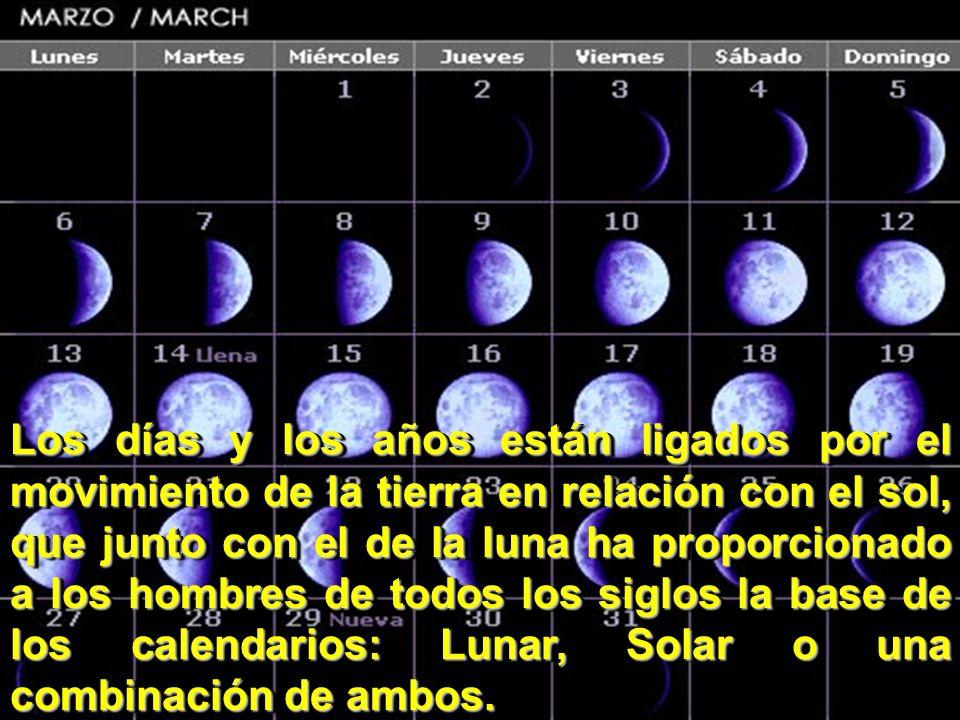 Los días y los años están ligados por el movimiento de la tierra en relación con el sol, que junto con el de la luna ha proporcionado a los hombres de