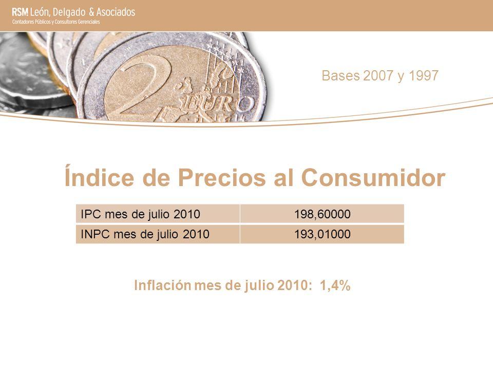 Inflación mes de julio 2010: 1,4% Bases 2007 y 1997 IPC mes de julio 2010198,60000 INPC mes de julio 2010193,01000 Índice de Precios al Consumidor