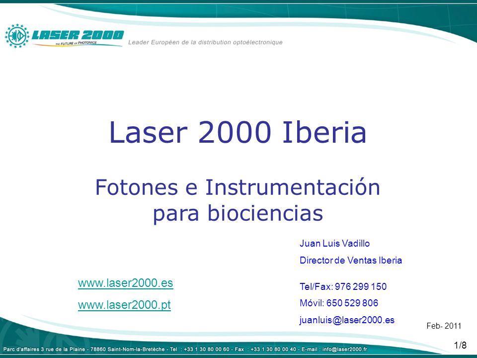 2/8 Fuentes láser CW, pulsados (nsec, psec), sintonizables, acople fibra, modulación Láseres de diodo, DPSS, fibra, gas, cascada cuántica, VCSEL - Desde UV profundo (224nm) a sintonizables QCL en IR medio 11µmUV profundo sintonizables QCL - Modelos de frecuencia única (<1MHz)frecuencia única - Láser de picosegundos (20 a 500) programables en lambda, ancho de pulso y frecuencia de repeticiónpicosegundos - MLC400: 405, 488, 561, 640nm alineados en una cajaMLC400 - Nordic: láser multicolor configurableNordic - Láseres para pinzas ópticas, excitación de proteínas, etc…pinzas - etc… CW, pulsados (nsec, psec), sintonizables, acople fibra, modulación Láseres de diodo, DPSS, fibra, gas, cascada cuántica, VCSEL - Desde UV profundo (224nm) a sintonizables QCL en IR medio 11µmUV profundo sintonizables QCL - Modelos de frecuencia única (<1MHz)frecuencia única - Láser de picosegundos (20 a 500) programables en lambda, ancho de pulso y frecuencia de repeticiónpicosegundos - MLC400: 405, 488, 561, 640nm alineados en una cajaMLC400 - Nordic: láser multicolor configurableNordic - Láseres para pinzas ópticas, excitación de proteínas, etc…pinzas - etc…