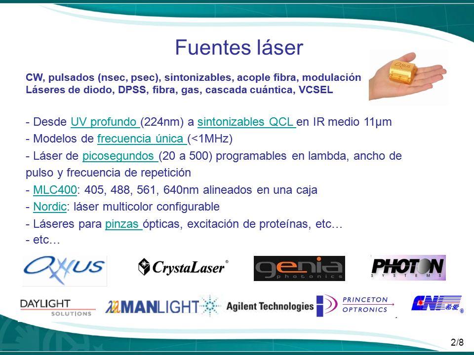 2/8 Fuentes láser CW, pulsados (nsec, psec), sintonizables, acople fibra, modulación Láseres de diodo, DPSS, fibra, gas, cascada cuántica, VCSEL - Des