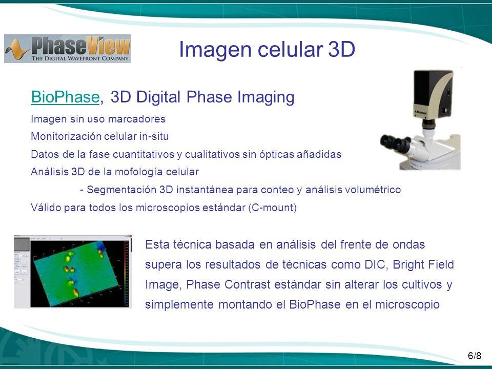 6/8 BioPhaseBioPhase, 3D Digital Phase Imaging Imagen sin uso marcadores Monitorización celular in-situ Datos de la fase cuantitativos y cualitativos
