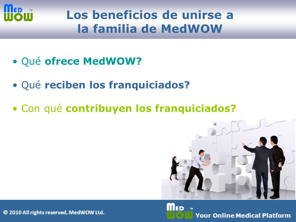 © 2010 All rights reserved, MedWOW Ltd. Your Online Medical Platform Qué ofrece MedWOW.