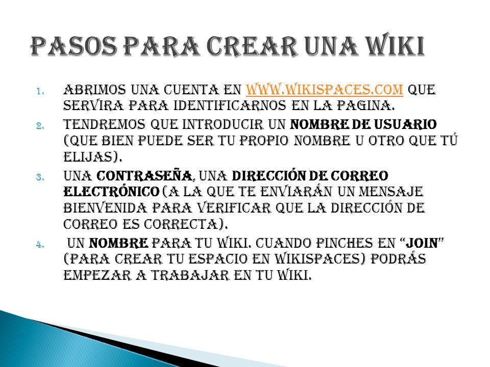 1. ABRIMOS UNA CUENTA EN WWW.WIKISPACES.COM QUE SERVIRA PARA IDENTIFICARNOS EN LA PAGINA.WWW.WIKISPACES.COM 2. Tendremos que introducir un nombre de u
