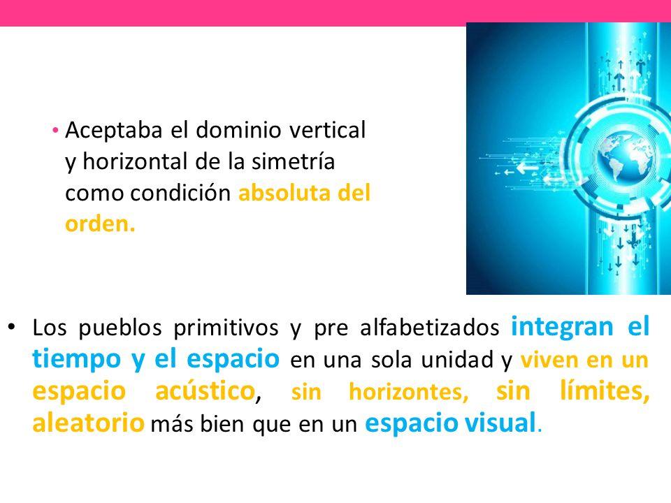 Aceptaba el dominio vertical y horizontal de la simetría como condición absoluta del orden.