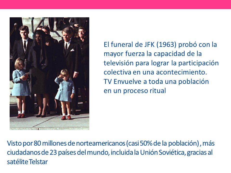 Visto por 80 millones de norteamericanos (casi 50% de la población), más ciudadanos de 23 países del mundo, incluida la Unión Soviética, gracias al satélite Telstar El funeral de JFK (1963) probó con la mayor fuerza la capacidad de la televisión para lograr la participación colectiva en una acontecimiento.