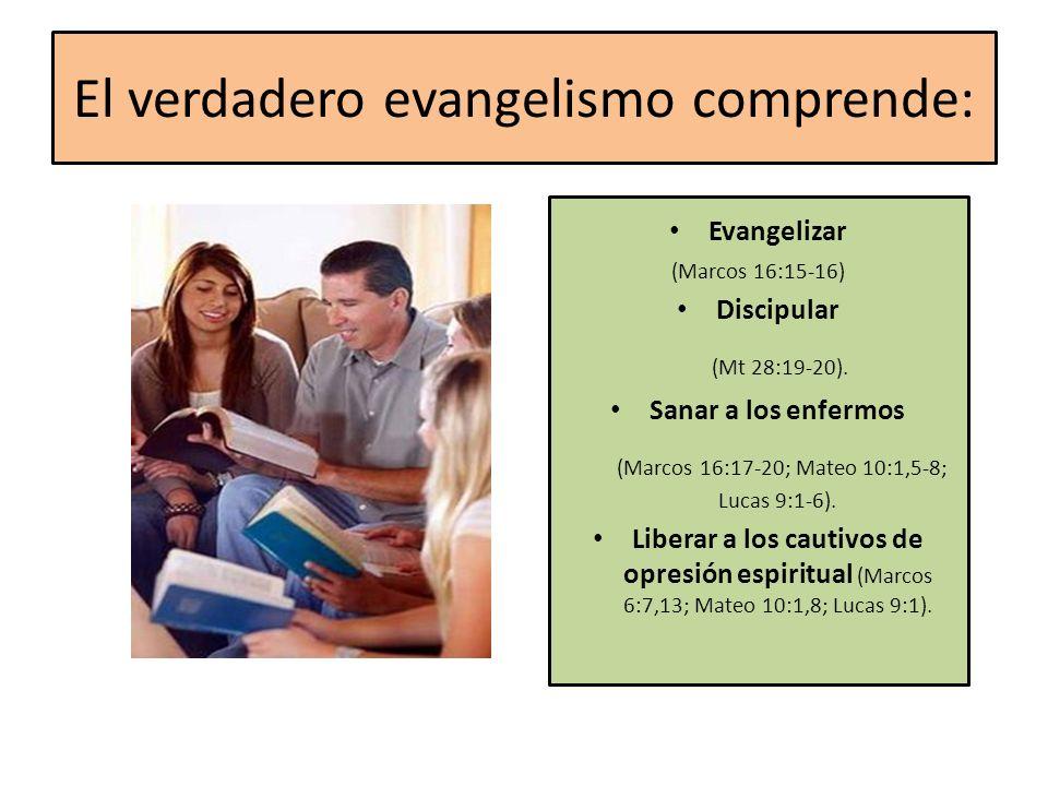 El verdadero evangelismo comprende: Evangelizar (Marcos 16:15-16) Discipular (Mt 28:19-20). Sanar a los enfermos (Marcos 16:17-20; Mateo 10:1,5-8; Luc