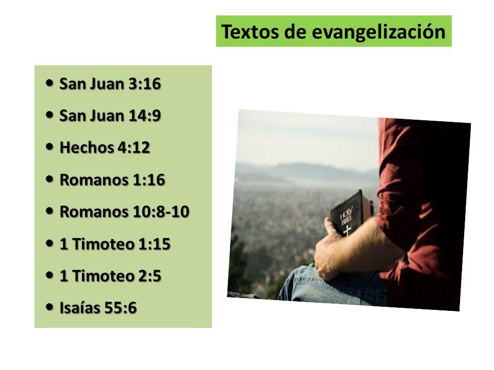 San Juan 3:16 San Juan 3:16 San Juan 14:9 San Juan 14:9 Hechos 4:12 Hechos 4:12 Romanos 1:16 Romanos 1:16 Romanos 10:8-10 Romanos 10:8-10 1 Timoteo 1: