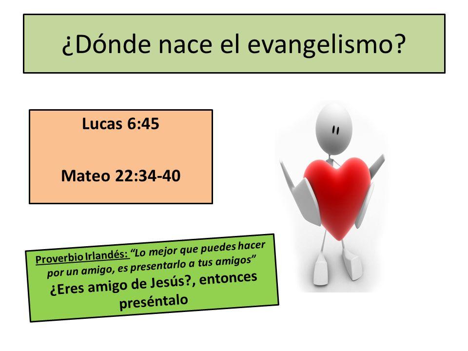 ¿Dónde nace el evangelismo? Lucas 6:45 Mateo 22:34-40 Proverbio Irlandés: Lo mejor que puedes hacer por un amigo, es presentarlo a tus amigos ¿Eres am