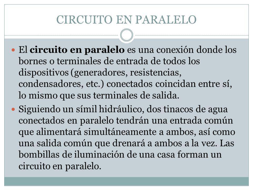 CIRCUITO EN PARALELO El circuito en paralelo es una conexión donde los bornes o terminales de entrada de todos los dispositivos (generadores, resisten