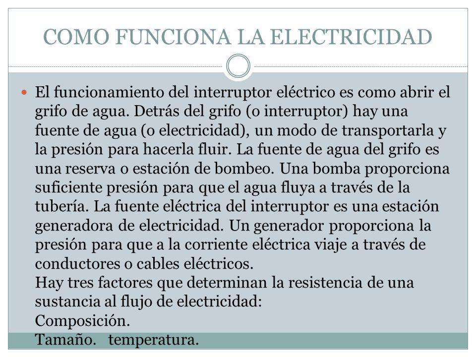 COMO FUNCIONA LA ELECTRICIDAD El funcionamiento del interruptor eléctrico es como abrir el grifo de agua. Detrás del grifo (o interruptor) hay una fue