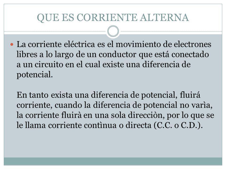 QUE ES CORRIENTE ALTERNA La corriente eléctrica es el movimiento de electrones libres a lo largo de un conductor que está conectado a un circuito en e