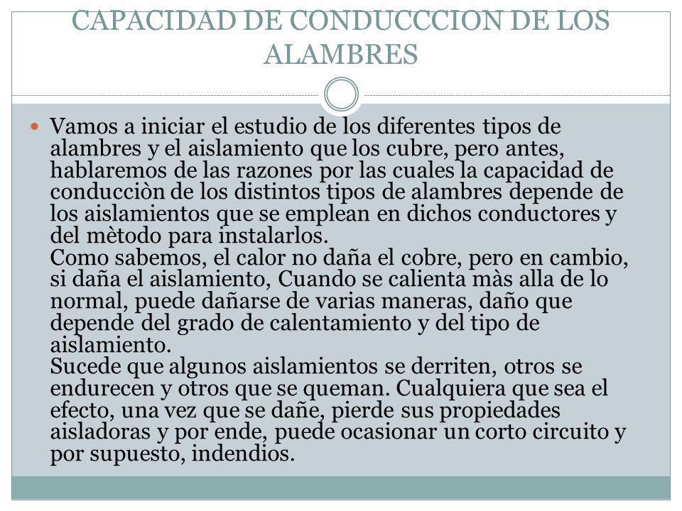 CAPACIDAD DE CONDUCCCION DE LOS ALAMBRES Vamos a iniciar el estudio de los diferentes tipos de alambres y el aislamiento que los cubre, pero antes, ha