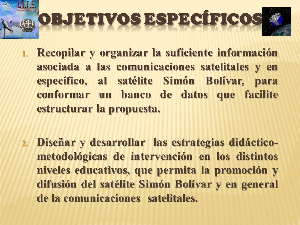 1. Recopilar y organizar la suficiente información asociada a las comunicaciones satelitales y en específico, al satélite Simón Bolívar, para conforma
