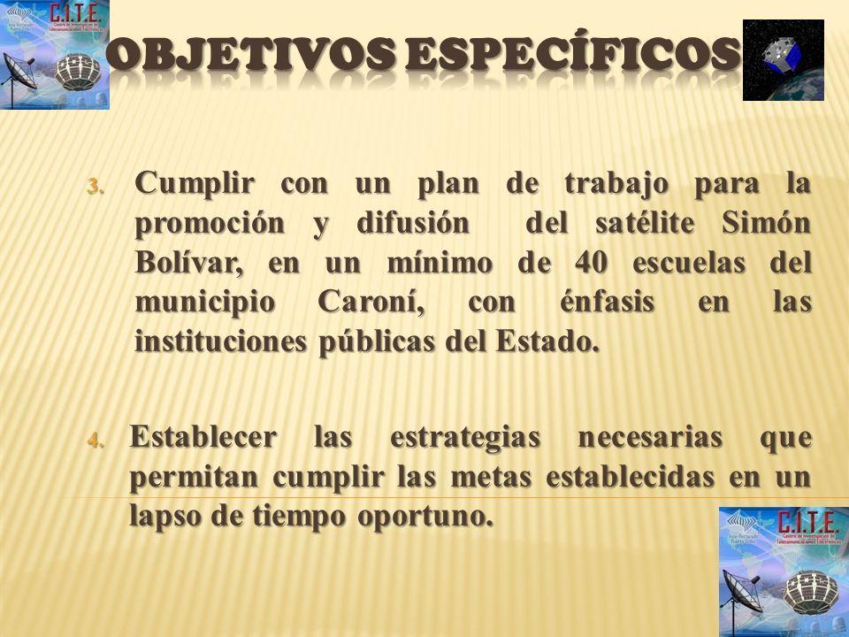 3. Cumplir con un plan de trabajo para la promoción y difusión del satélite Simón Bolívar, en un mínimo de 40 escuelas del municipio Caroní, con énfas