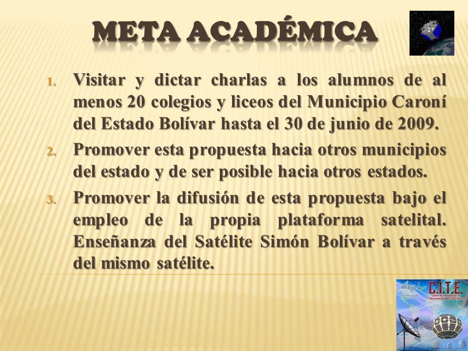 1. Visitar y dictar charlas a los alumnos de al menos 20 colegios y liceos del Municipio Caroní del Estado Bolívar hasta el 30 de junio de 2009. 2. Pr