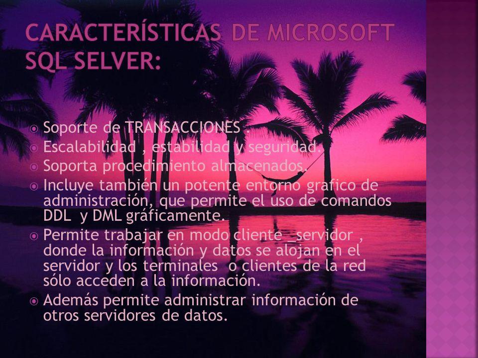 Es un sistema para la gestión de BASES DE DATOS producido por Microsoft basado en el modelo relacional. Sus lenguajes para consultas son T-SQL y ANSI