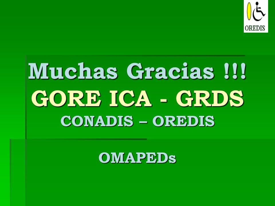 Muchas Gracias !!! GORE ICA - GRDS CONADIS – OREDIS OMAPEDs