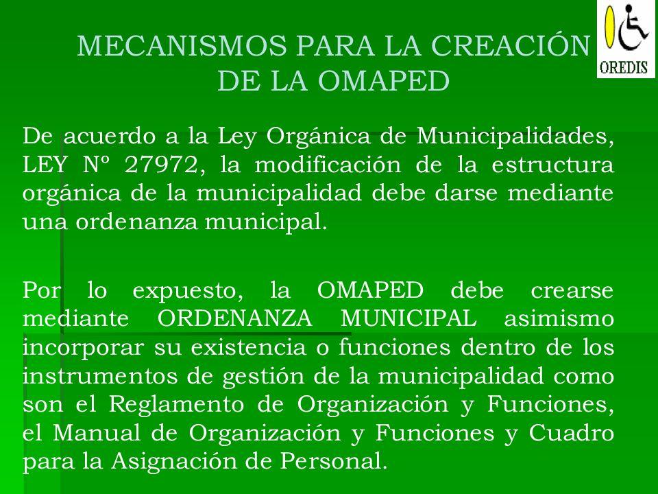 MECANISMOS PARA LA CREACIÓN DE LA OMAPED De acuerdo a la Ley Orgánica de Municipalidades, LEY Nº 27972, la modificación de la estructura orgánica de l