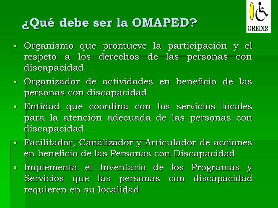 ¿Qué debe ser la OMAPED? Organismo que promueve la participación y el respeto a los derechos de las personas con discapacidad Organismo que promueve l