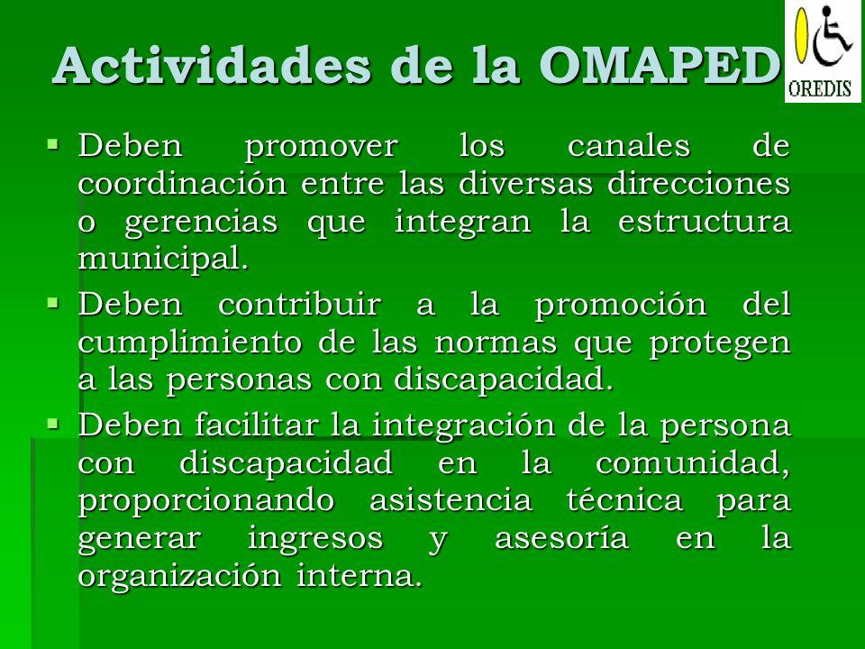 Actividades de la OMAPED Deben promover los canales de coordinación entre las diversas direcciones o gerencias que integran la estructura municipal. D