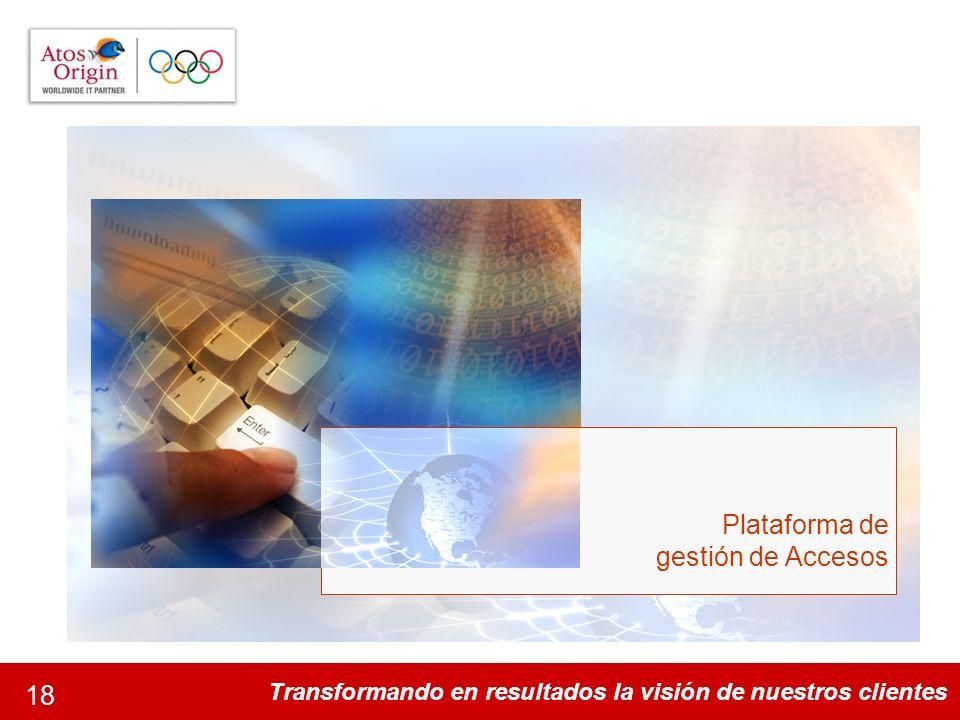 Transformando en resultados la visión de nuestros clientes 18 Plataforma de gestión de Accesos