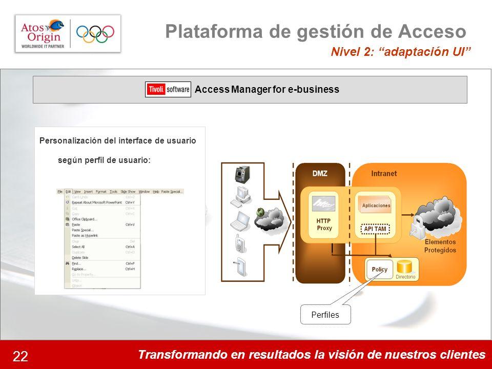 Transformando en resultados la visión de nuestros clientes 22 Plataforma de gestión de Acceso Nivel 2: adaptación UI Access Manager for e-business Per