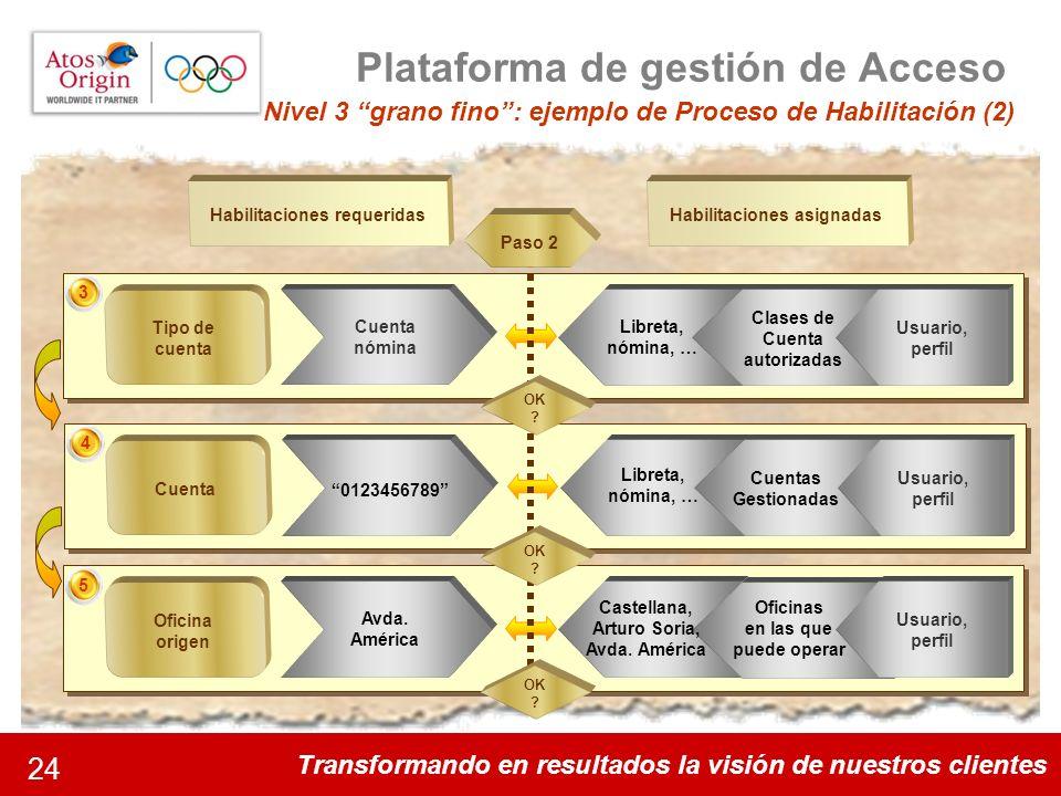Transformando en resultados la visión de nuestros clientes 24 Plataforma de gestión de Acceso Nivel 3 grano fino: ejemplo de Proceso de Habilitación (