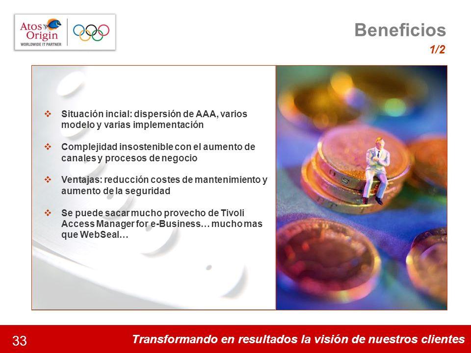 Transformando en resultados la visión de nuestros clientes 33 Beneficios 1/2 Algunos datos de la magnitud del proyecto 35 disciplinas y 301 acontecimi