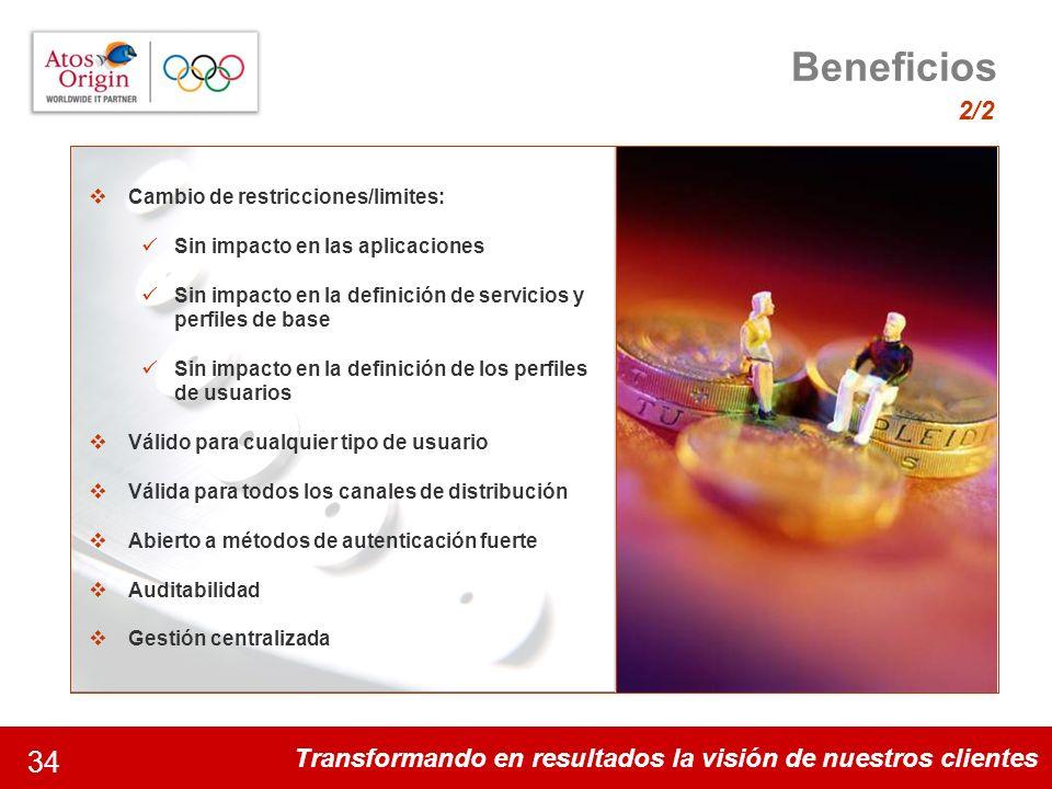 Transformando en resultados la visión de nuestros clientes 34 Beneficios 2/2 Algunos datos de la magnitud del proyecto 35 disciplinas y 301 acontecimi