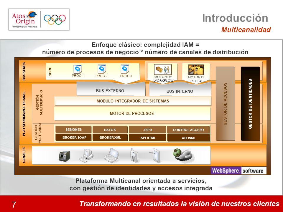 Transformando en resultados la visión de nuestros clientes 7 Plataforma Multicanal orientada a servicios, con gestión de identidades y accesos integra