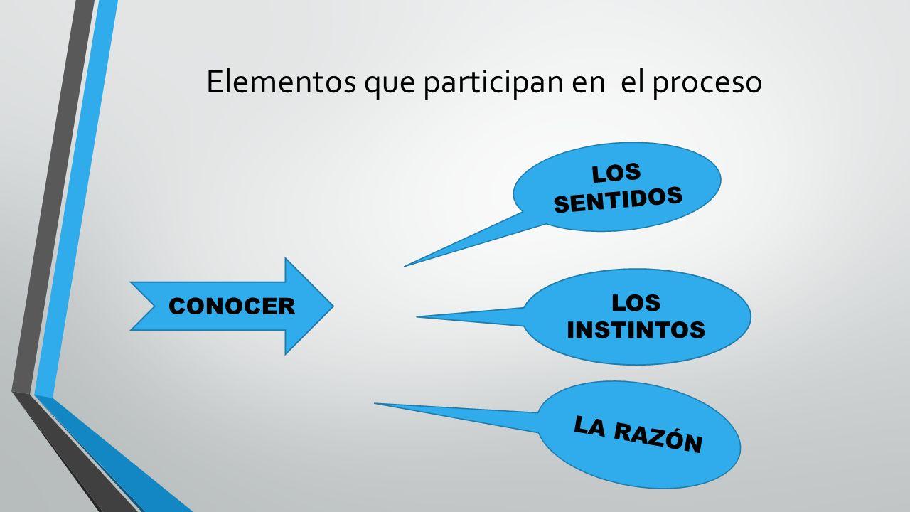 Elementos que participan en el proceso CONOCER LOS SENTIDOS LOS INSTINTOS LA RAZÓN