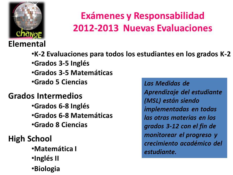 Exámenes y Responsabilidad 2012-2013 Nuevas Evaluaciones Elemental K-2 Evaluaciones para todos los estudiantes en los grados K-2 Grados 3-5 Inglés Grados 3-5 Matemáticas Grado 5 Ciencias Grados Intermedios Grados 6-8 Inglés Grados 6-8 Matemáticas Grado 8 Ciencias High School Matemática I Inglés II Biologia Las Medidas de Aprendizaje del estudiante (MSL) están siendo implementadas en todas las otras materias en los grados 3-12 con el fin de monitorear el progreso y crecimiento académico del estudiante.