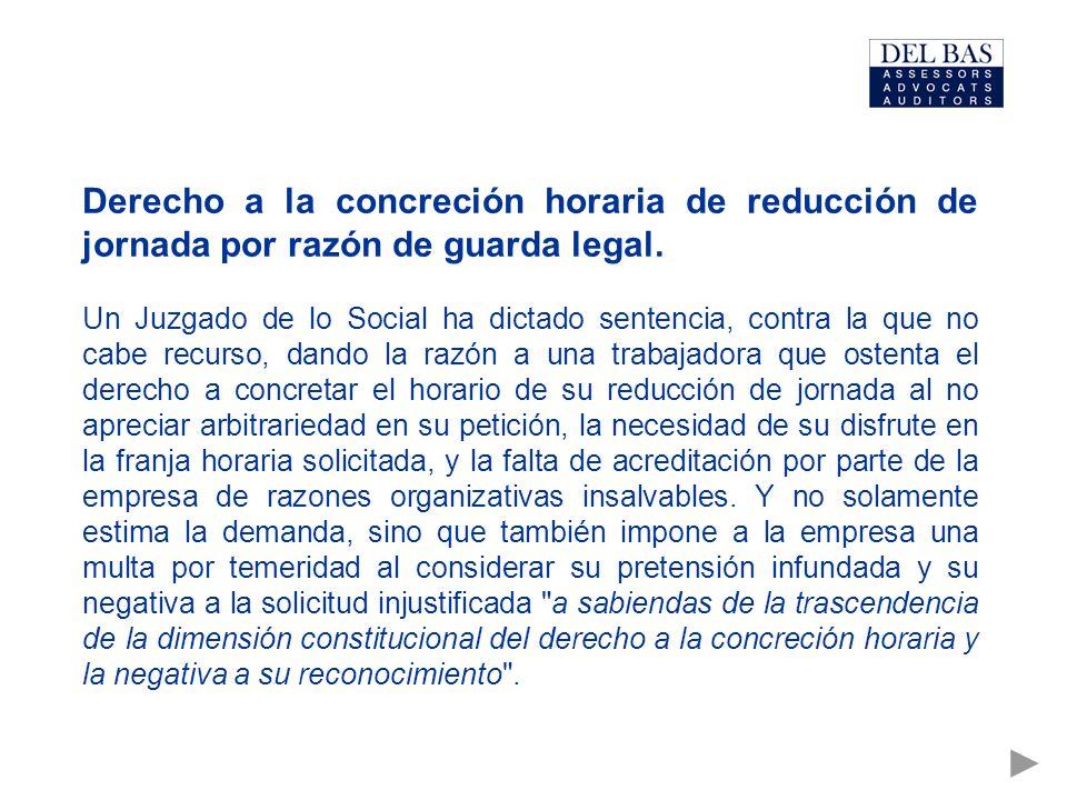 Derecho a la concreción horaria de reducción de jornada por razón de guarda legal.