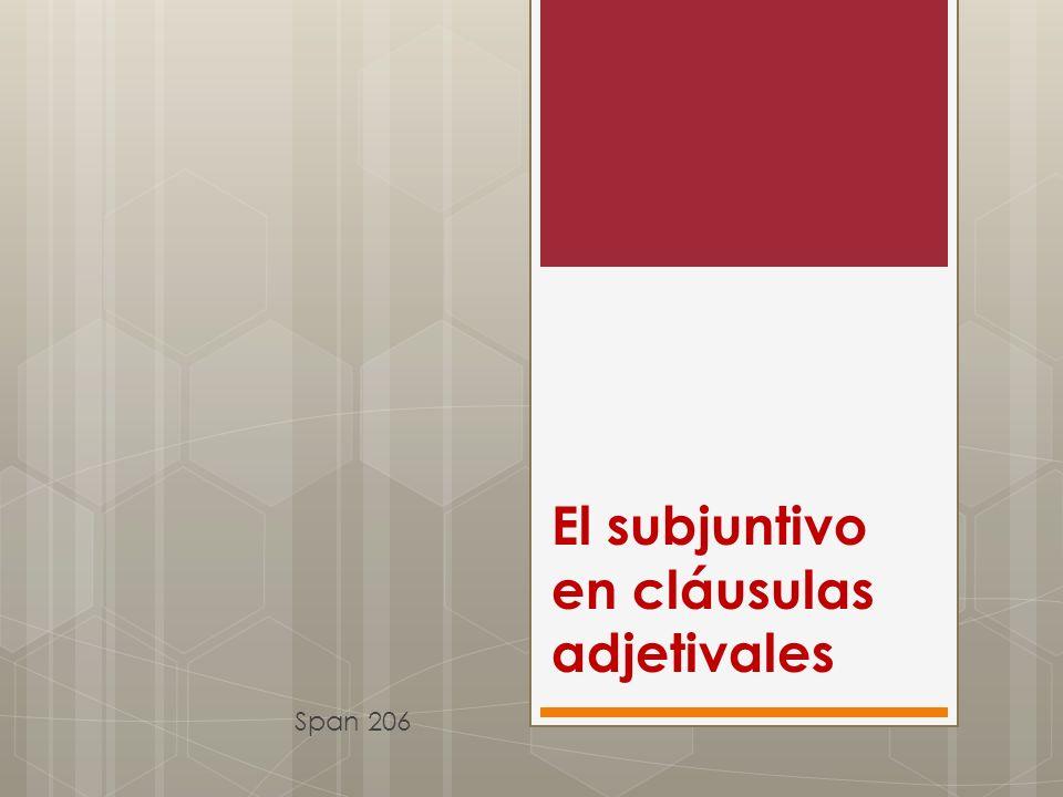 El subjuntivo en cláusulas adjetivales Span 206
