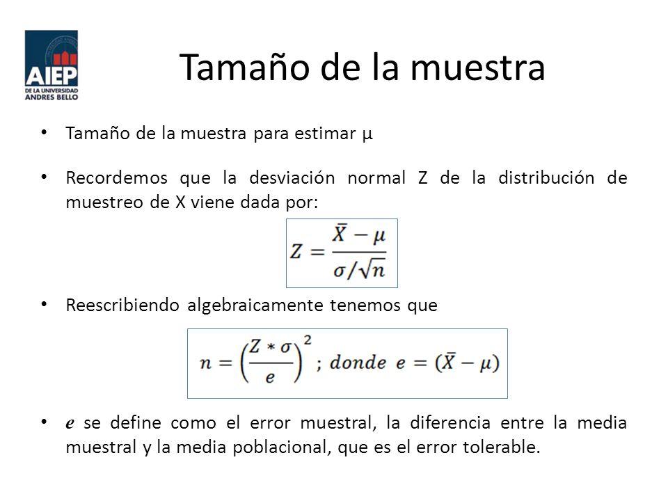 Tamaño de la muestra Tamaño de la muestra para estimar μ Recordemos que la desviación normal Z de la distribución de muestreo de X viene dada por: Reescribiendo algebraicamente tenemos que e se define como el error muestral, la diferencia entre la media muestral y la media poblacional, que es el error tolerable.